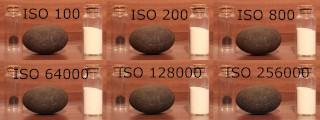 Různé nastavení ISO